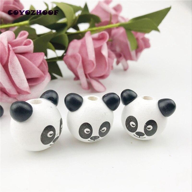 10 pcs 3D Panda Beer 19x29mm Wit Leuke Kids Houten Kralen Leuke Spacer Losse kralen Fit kids handmake DIY Accessoire