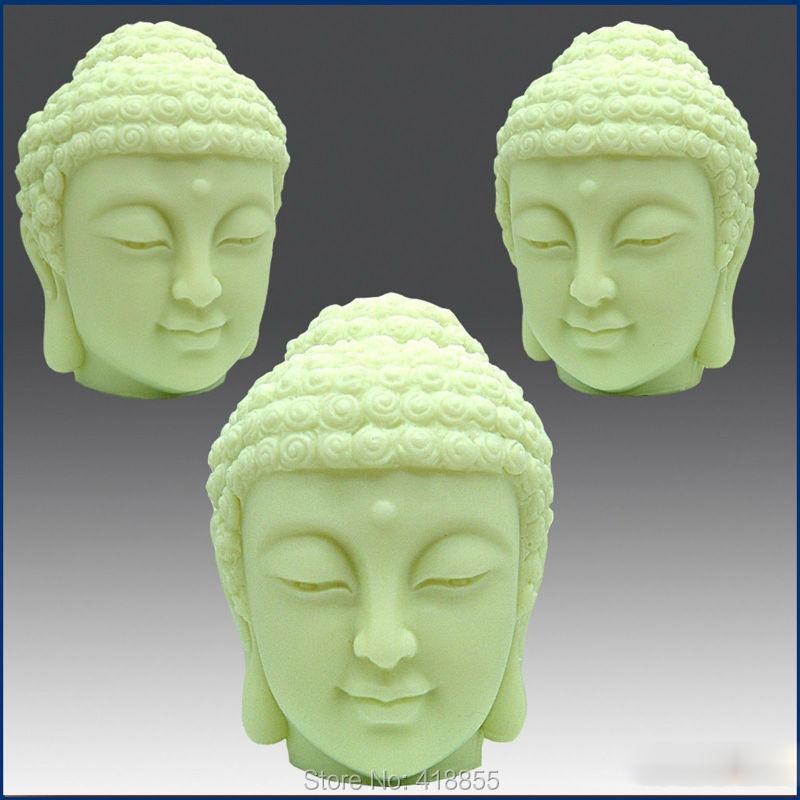 Recién llegado, molde de silicona 3D para vela y jabón, Cabeza de Buda, moldes de jabón hechos a mano de buena calidad, moldes de piedra aromática PRZY 001