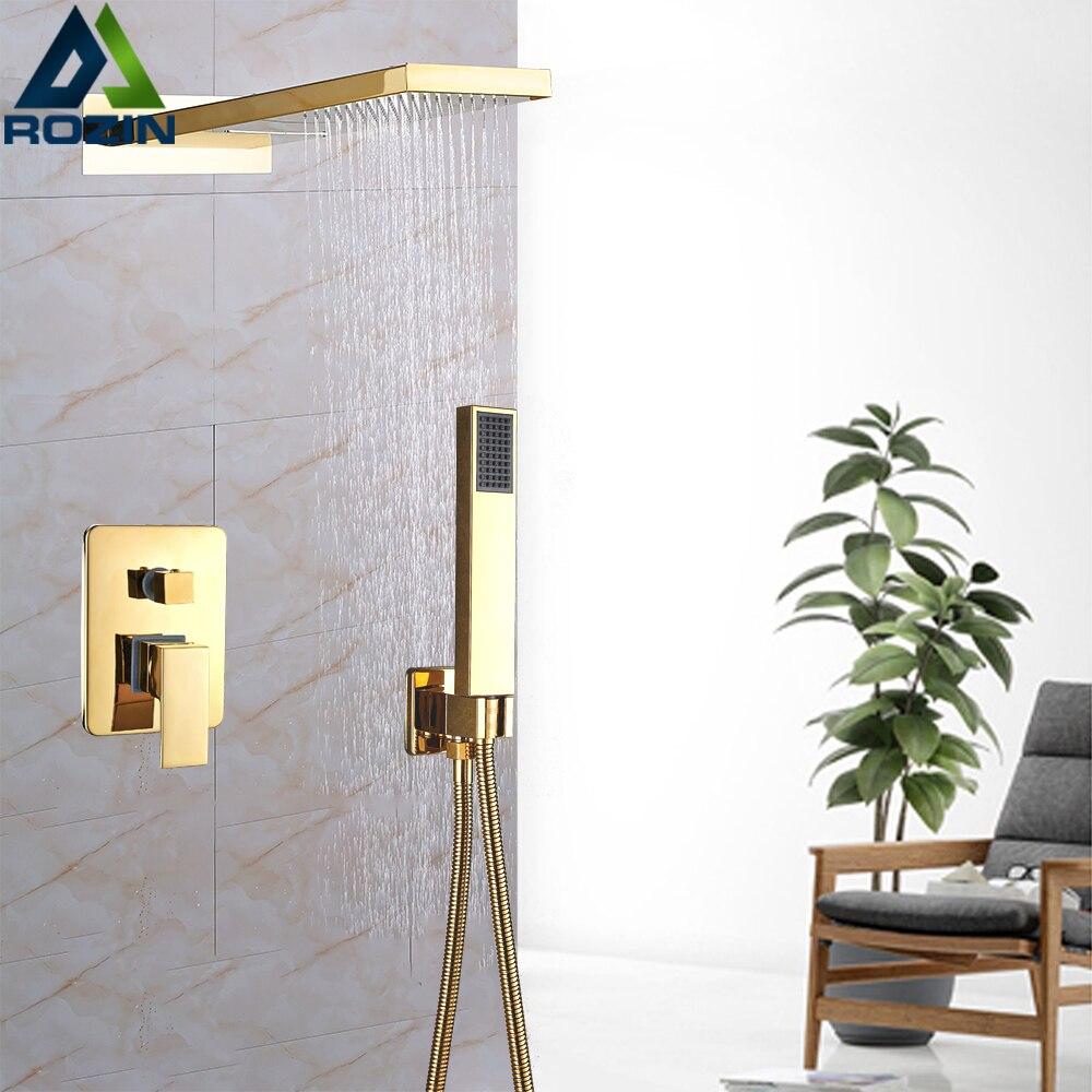 Grifo de ducha de cascada de lluvia montado en la pared de latón Válvula de Control de ducha de 3 vías grifo mezclador de ducha dorado ducha de mano de plástico