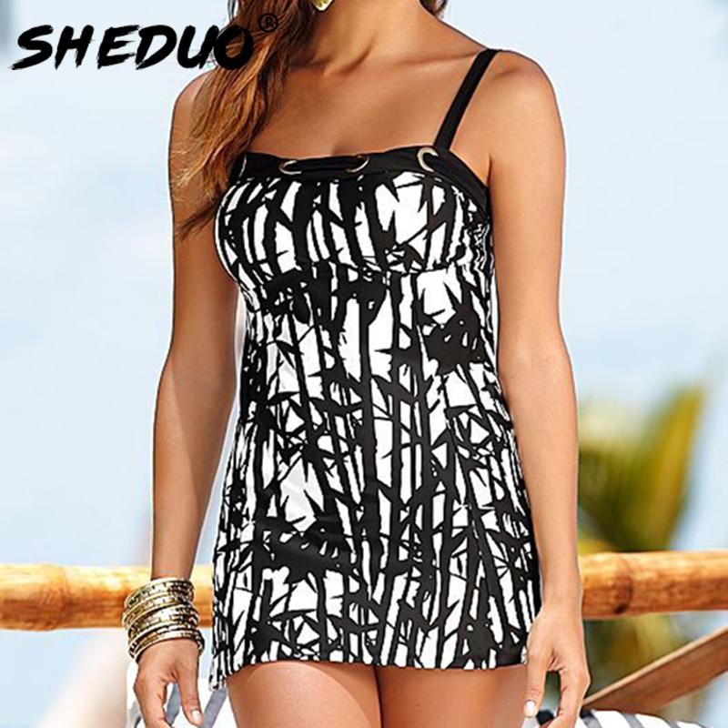 Plus Size Tankini For Women Swimwear Dress Print Sexy Two-pieces Bathing Suit Beach Wear Swimsuit Bodysuit Straps New bikini