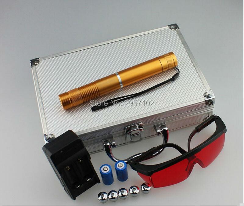 Punteros láser azul militar de alta potencia 1000000m 100w 450nm Partido de encendido/madera seca/vela/Negro/cigarrillos quemados + 5 tapas + gafas