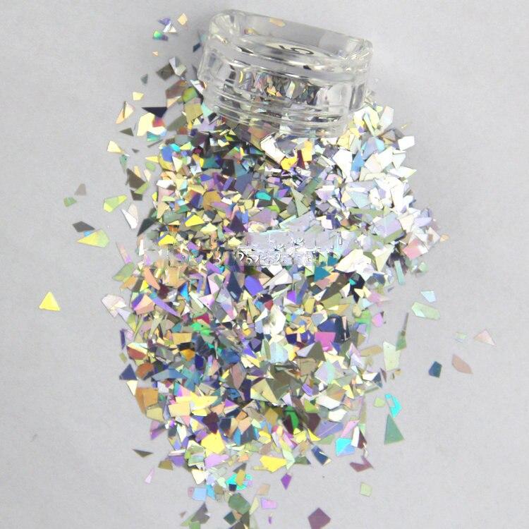 50G/bag Gold/Silver holographic glitter flakes, random cut irregular shape flakes, hologram unicorn dust, nail art, nail glitter