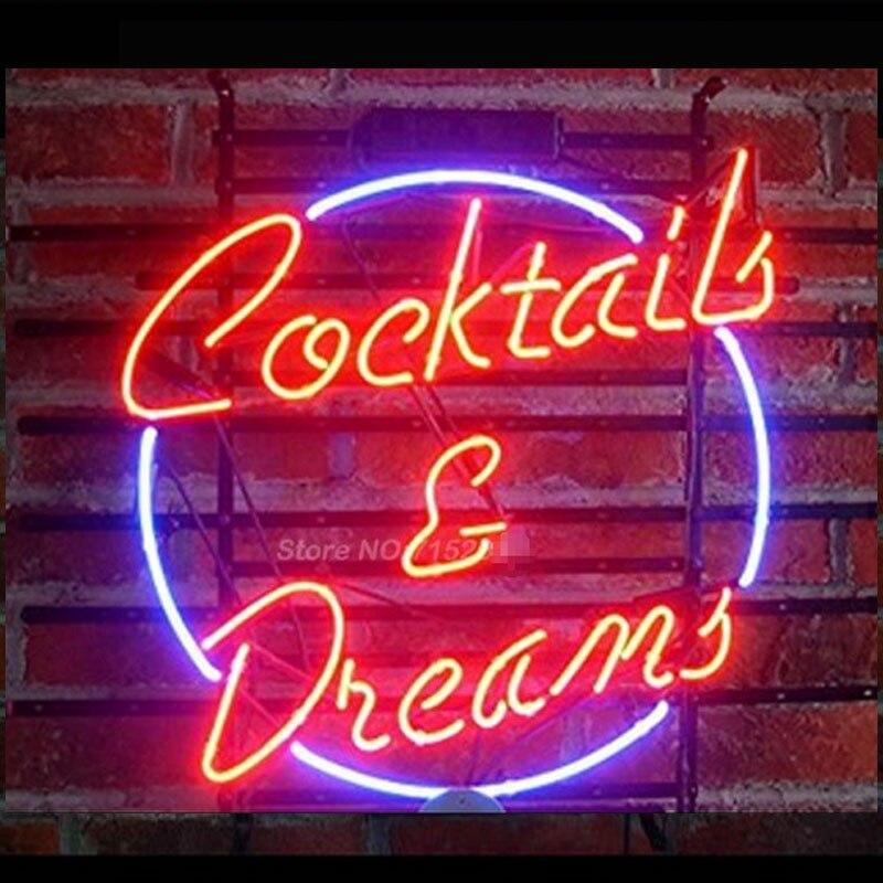 Señal de señal de luz de neón Cocktails Dreams, Bombilla de neón, pantalla de tienda, tubo de vidrio Real, calidad, garantía de artesanía, regalos de moda VD 17x14
