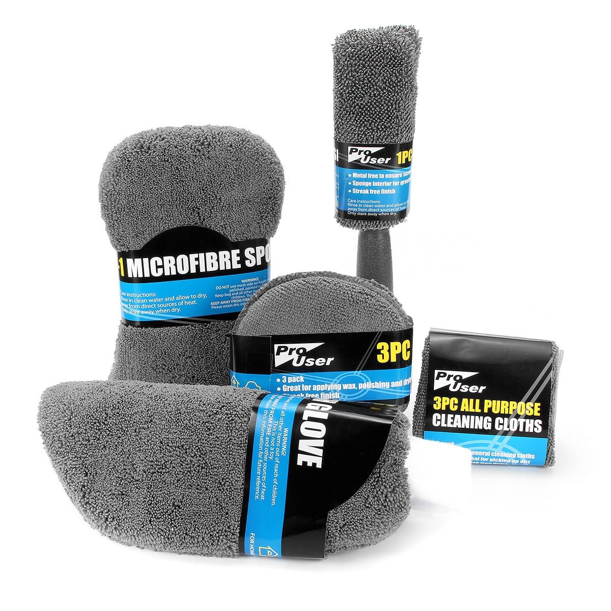 9 pcs Kit Escova Roda Wasing Pano de Lavagem da Limpeza Do Carro Luva Pad Polonês Ferramenta De Toalha de Microfibra