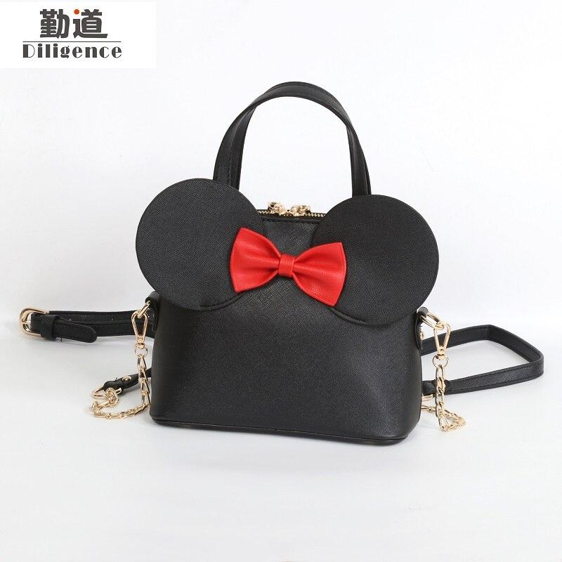 Bolsos de cuero para mujeres 2018 Bowknot bolso de hombro de moda de marcas famosas de lujo estilo de diseñador doble ASA bolsos de Mickey Totes