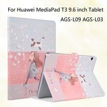 Mode peint en cuir Pu support de support housse pour Huawei MediaPad T3 10 AGS-L09 AGS-L03 AGS-W09 9.6 pouces tablettes Funda