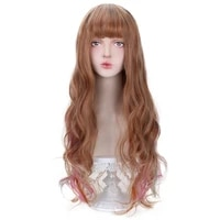 30 cosplay brown rainbow wig with bangs brown ombre long wavy synthetic hair cosplay lolita wigs for women girl heat resistant
