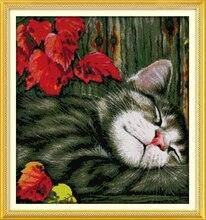 Joy Sunday Maple Leaf and Cat Cross Stitch Kits Cheap Craft Painting Needlework Embroidery Kits Cross Stitch Christmas Ornaments
