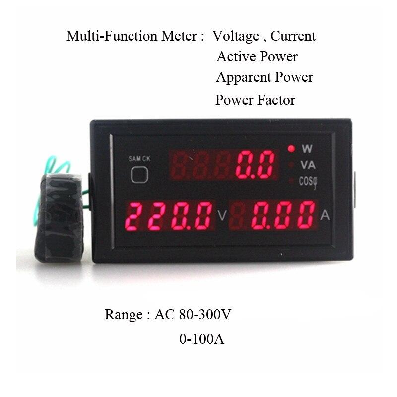 Voltímetro de panel de visualización LED multifuncional amperímetro Factor de potencia activo y visible AC80-300V/200-450 V 0-100A
