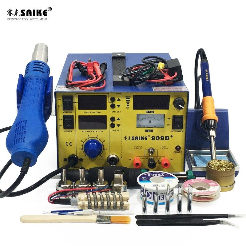 SAIKE 909D + 3 في 1 بندقية الهواء الساخن لحام محطة Desoldering ل محطة DC ينظم امدادات الطاقة 15V 3A 220V الاتحاد الأوروبي
