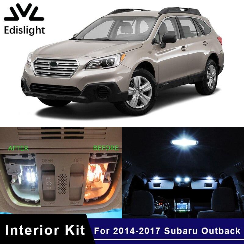 Edislight 10Pcs White Ice Blue Canbus LED Lamp Car Bulbs Interior Package Kit For 2014-2017 Subaru Outback Map Dome Door Light