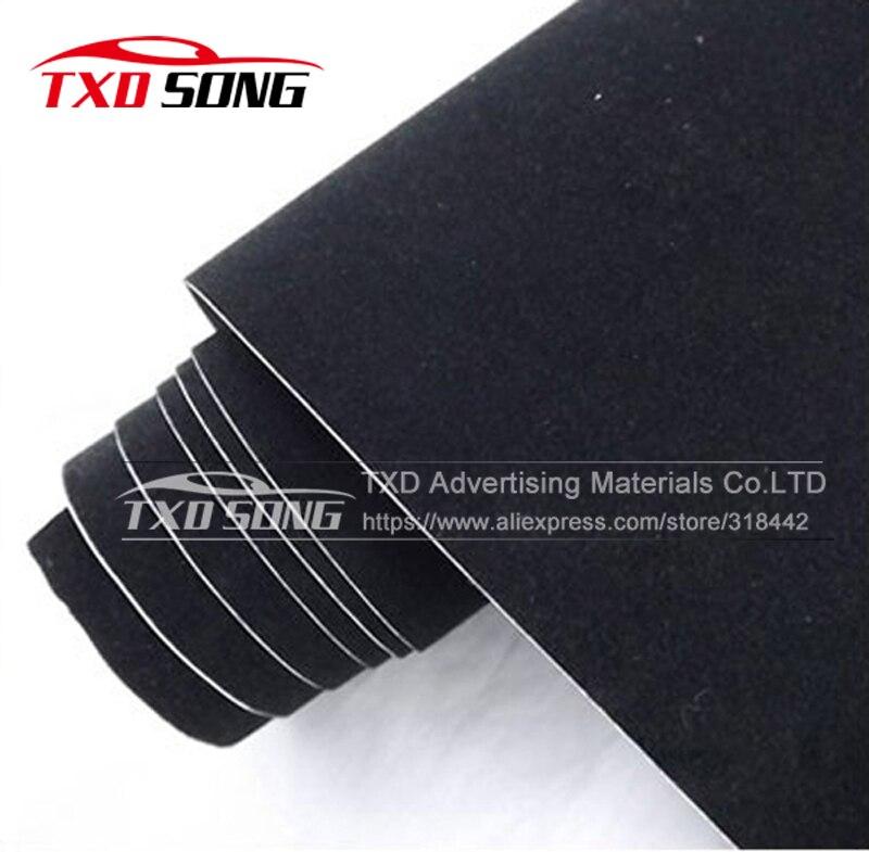 10/20/30/40/50/60X135CM Black CAR velvet vinyl sticker for car body decoration Velvet car vinyl wrap film with air free bubbles