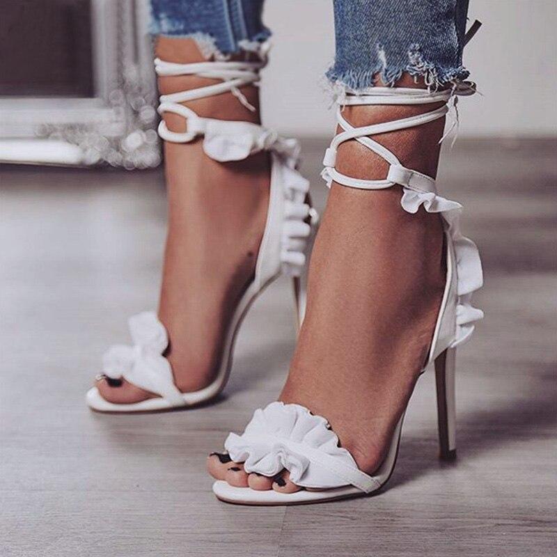 ¡Novedad de 2019! Zapatos de tacón alto sexys para mujer, zapatos de novia de tacón blanco de flores para mujer, sandalias de mujer con cordones, zapatos clásicos de tacón y ampliadores 43