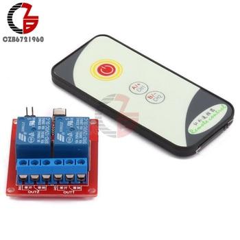 ИК-переключатель с пультом дистанционного управления, 2 канала, 5 В, 12 В, 24 В, высокотоковый релейный модуль, плата, светодиодный индикатор состояния