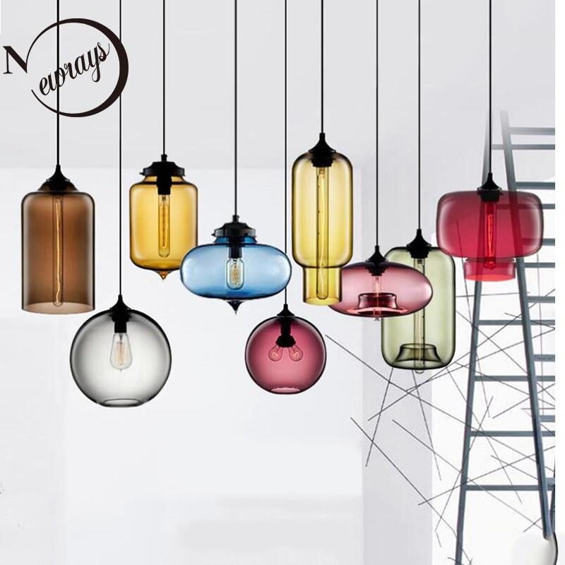 الشمال الحديثة الملونة الزجاج السلطانية قلادة أضواء E27 loft معلقة مصابيح للمطبخ غرفة المعيشة غرفة نوم مطعم فندق قاعة