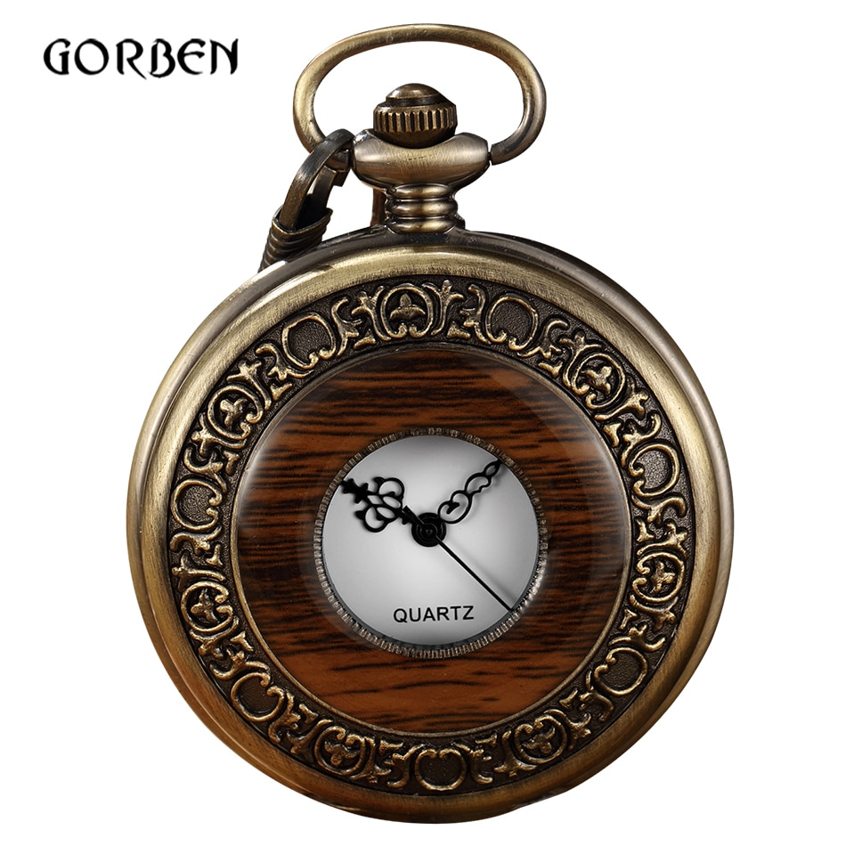 Reloj De bolsillo De madera Vintage, caja para hombres, números árabes, relojes De cuarzo FOB con colgante De cadena, relojes De bolsillo Steampunk, reloj De bolsillo