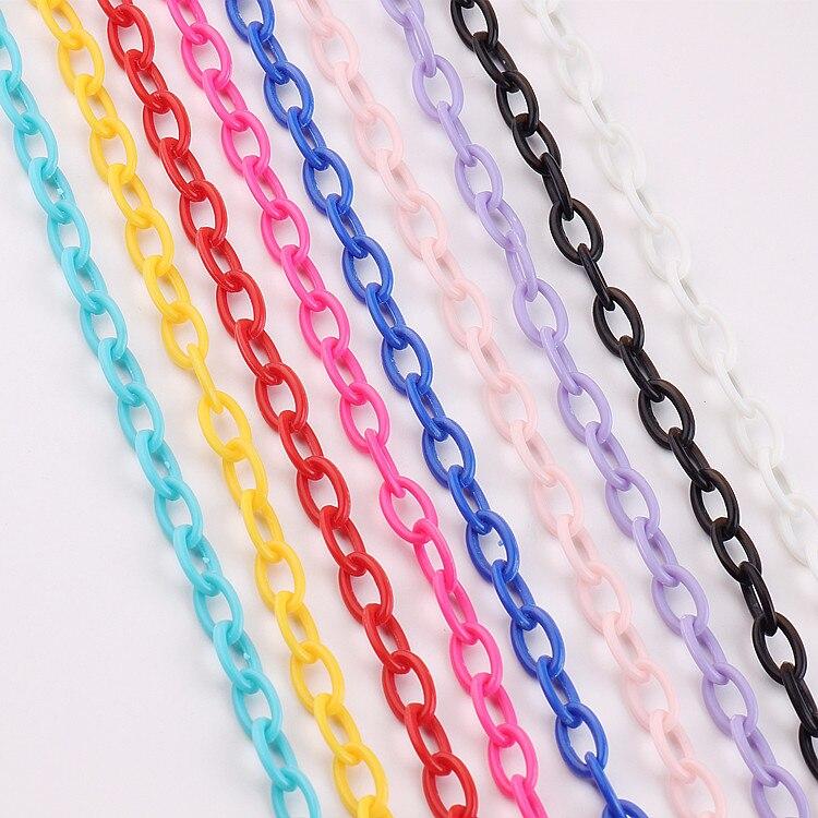 Cadena DIY para hacer joyas, accesorios hechos a mano, collar, pulsera, cadena de advertencia de plástico, colores aislados, accesorios de joyería