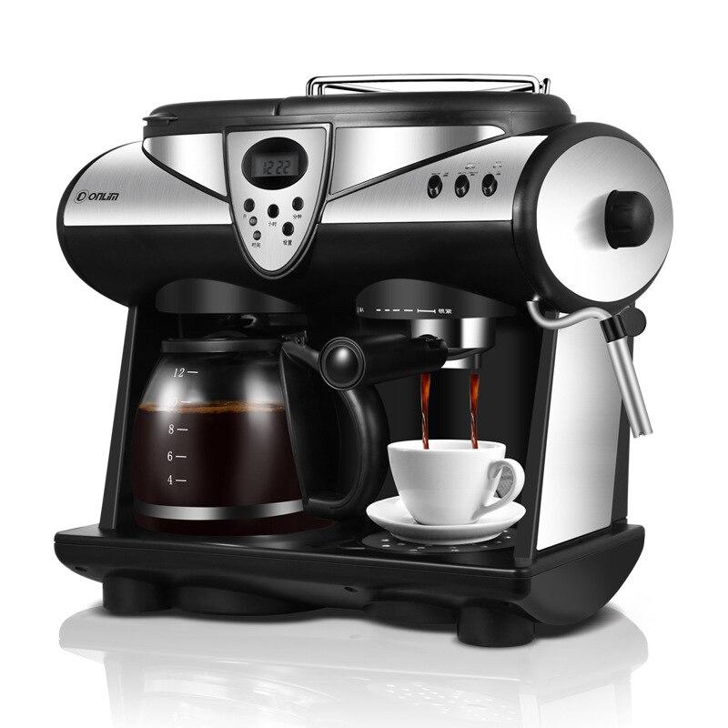 2 Sabores de Café Expresso Máquina de café Americano/Italiano Bombas Duplas E Caldeiras Fabricante De Espuma De Leite Cappuccino Mocha Latte Macchiato