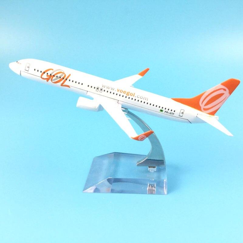 16cm aleación de Metal modelo avión Brasil Air GOL Airlines Boeing 737 B737 800 Airways avión modelo w Stand regalo