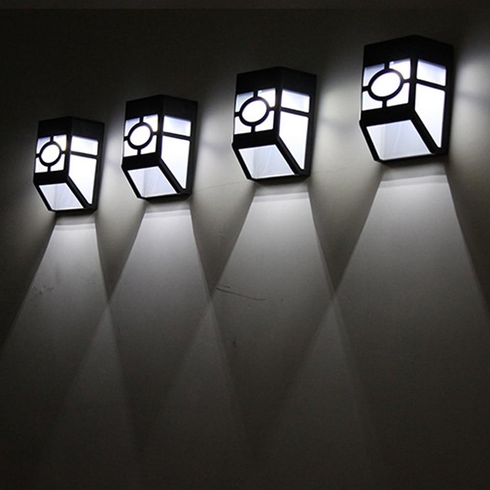 Luz LED de montaje en pared, sendero de jardín con energía Solar, lámpara de patio de valla al aire libre, luces impermeables, lámpara Solar LED de pared