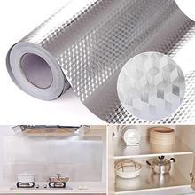 DIY Kitchen Sticker, 40X100CM Aluminum Foil Self Adhesive Waterproof Oil-proof Wallpaper for Home Kitchen Furniture Sticker