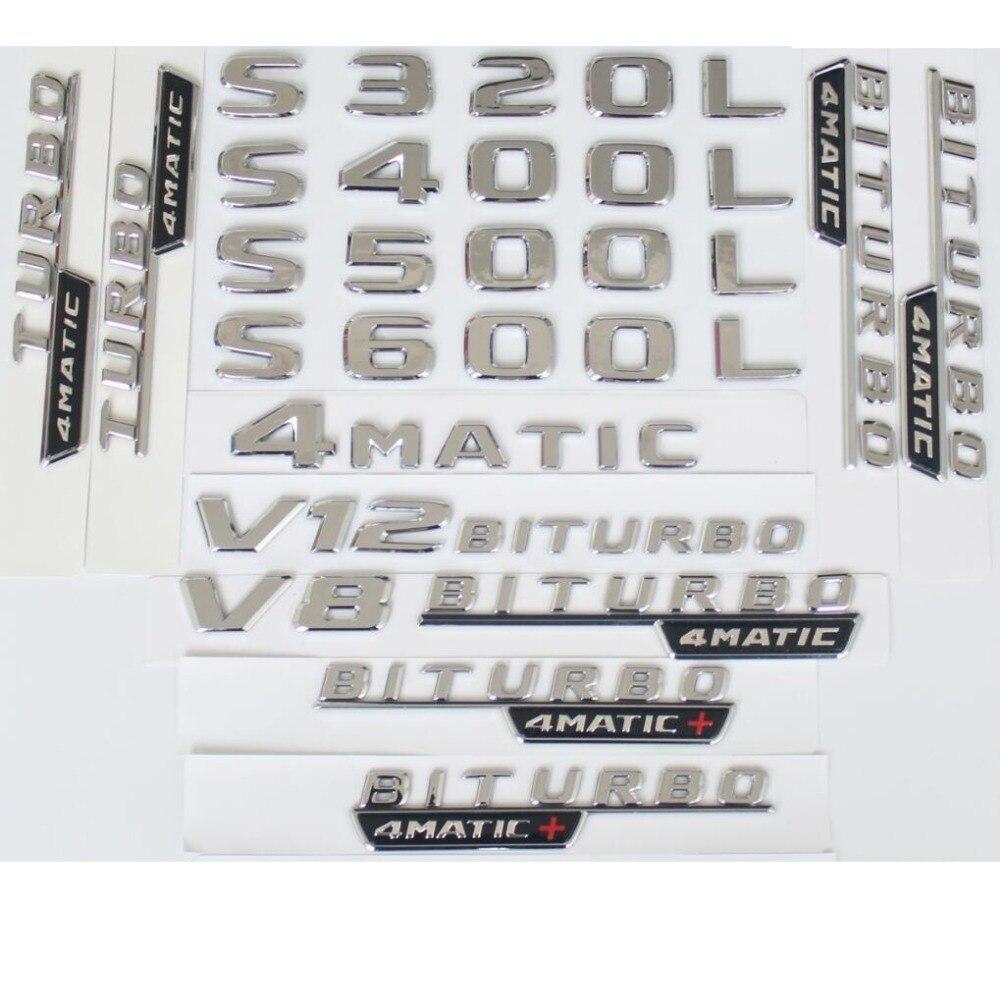 Lettres de coffre arrière plat chromé   Badges demblème demblème pour Mercedes Benz S320L S400L S500 S500L S600L V8 V12 BITURBO 4MATIC