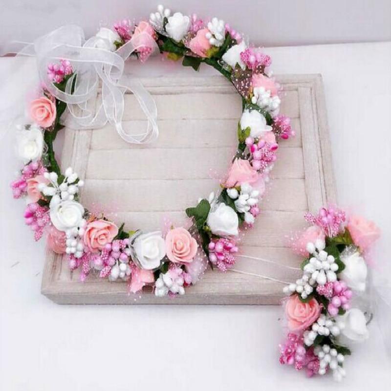 Corona de flores artificiales para boda, corona de rosas de espuma para novia, accesorios para el cabello para mujer, diadema de flores falsas, tocado Floral