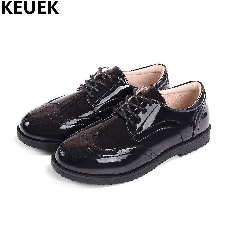 حذاء ويند كوليج للأطفال ، جلد أسود لامع ، مسطح وقابل للتنفس ، وظيفة الأطفال ، 04