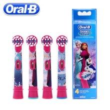 4 unds/pack Oral B niños cepillo eléctrico cabezas Cartoon pattern reemplazo giratorio cepillo de dientes cabeza higiene Oral cepillo cabeza