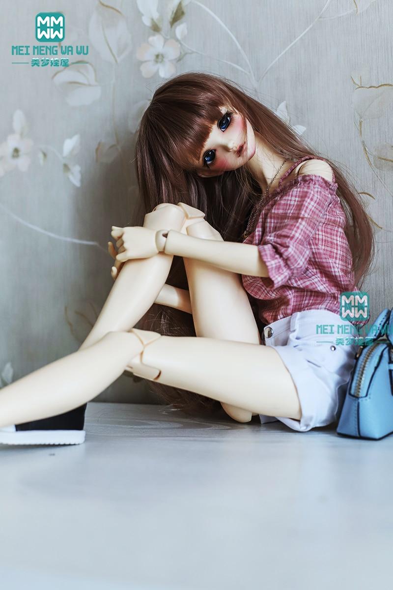 BJD doll clothes for 1/3 BJD doll fashion Wine red plaid shirt + casual shorts