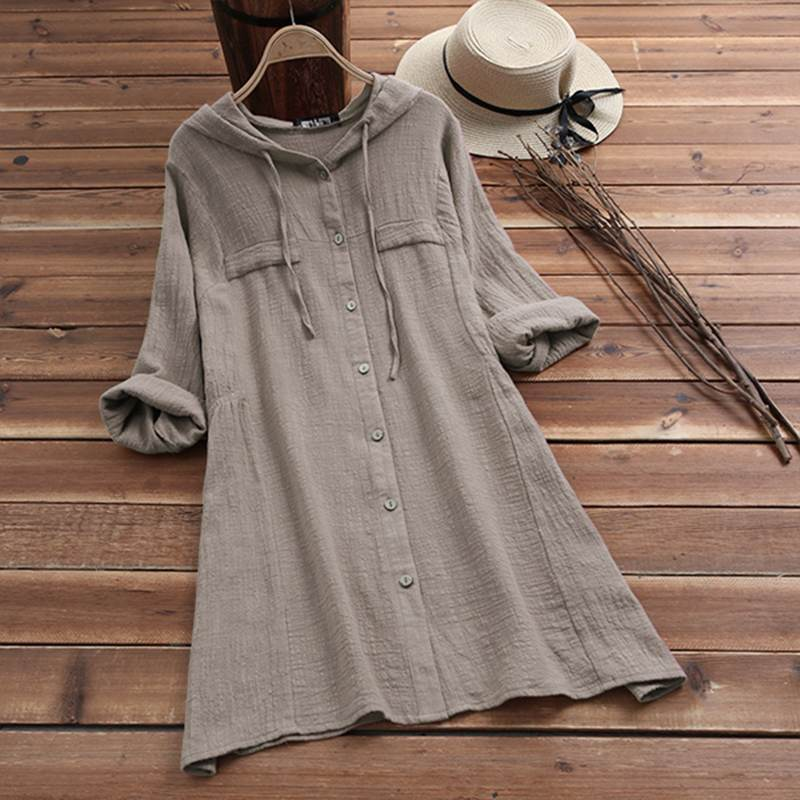 AliExpress - Plus Size Linen Shirt Women Summer Autumn Blouse 2021 ZANZEA Long Sleeve Chemise Female Button Asymmetrical Blusas Hooded Tunic
