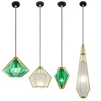 Diamond Glass Pendant Light Electroplating Glass Dining Room Pendant Lamp Creative Green Hanging Lights Kitchen Nordic Lighting