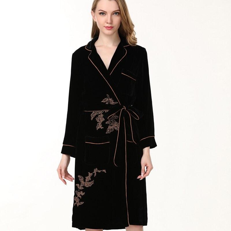 100%Silk SleepwearWomen Luxury Bathrobe warm flannel silk Robes Imitation Full Sleeve Nightwear winter spring woman silk robes