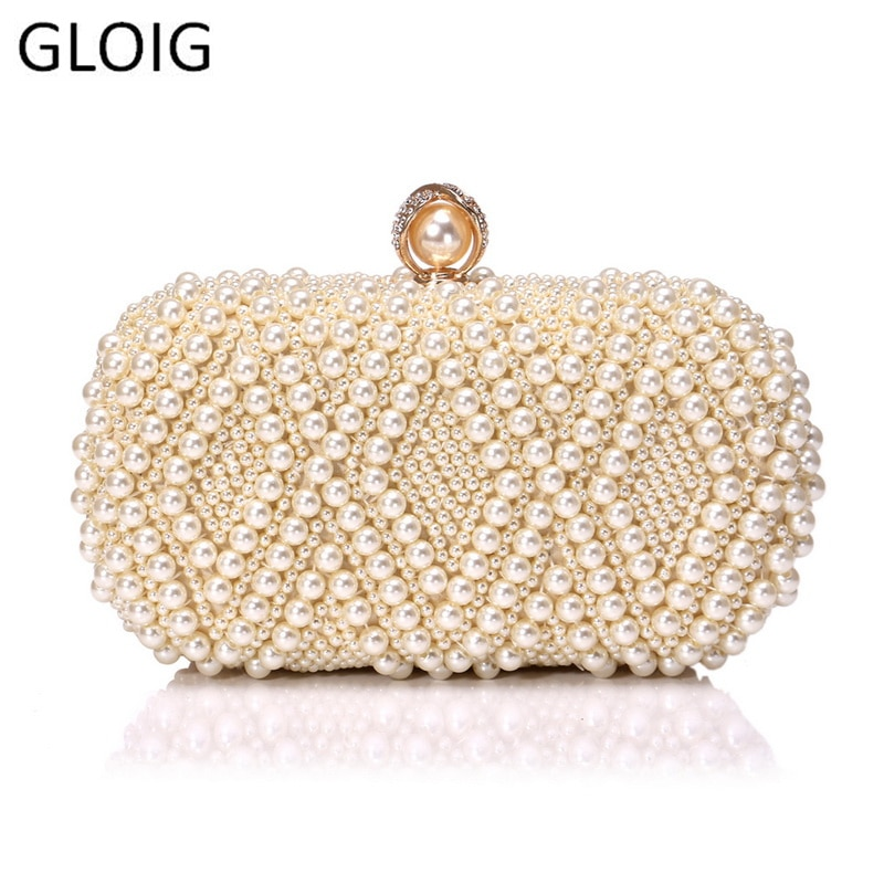 Wedding Purse Embroidery Handmade Pearl Handbags Rhinestones Beaded Wedding Bags Small Day Clutches Night Club Evening Bags