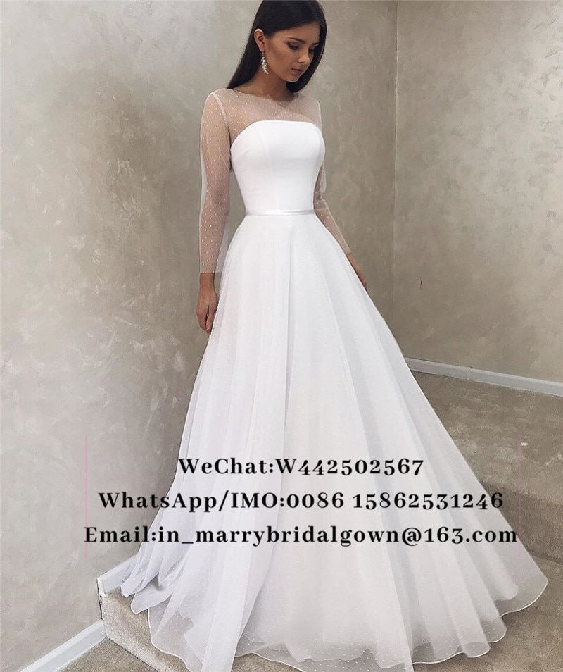 Modesto más tamaño De manga larga vestidos baratos De la boda 2019...