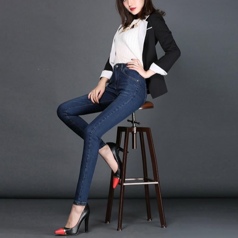 2019 nueva primavera y otoño Oficina señora algodón Stretch de talla grande de cintura alta femenina mujeres niñas lápiz pantalones jeans ropa 79341
