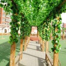 Hot Sale 12pcs 230 cm Artificial Ivy Leaf Garland Plastic green long Vine Fake Foliage flower Home decor Wedding decoration