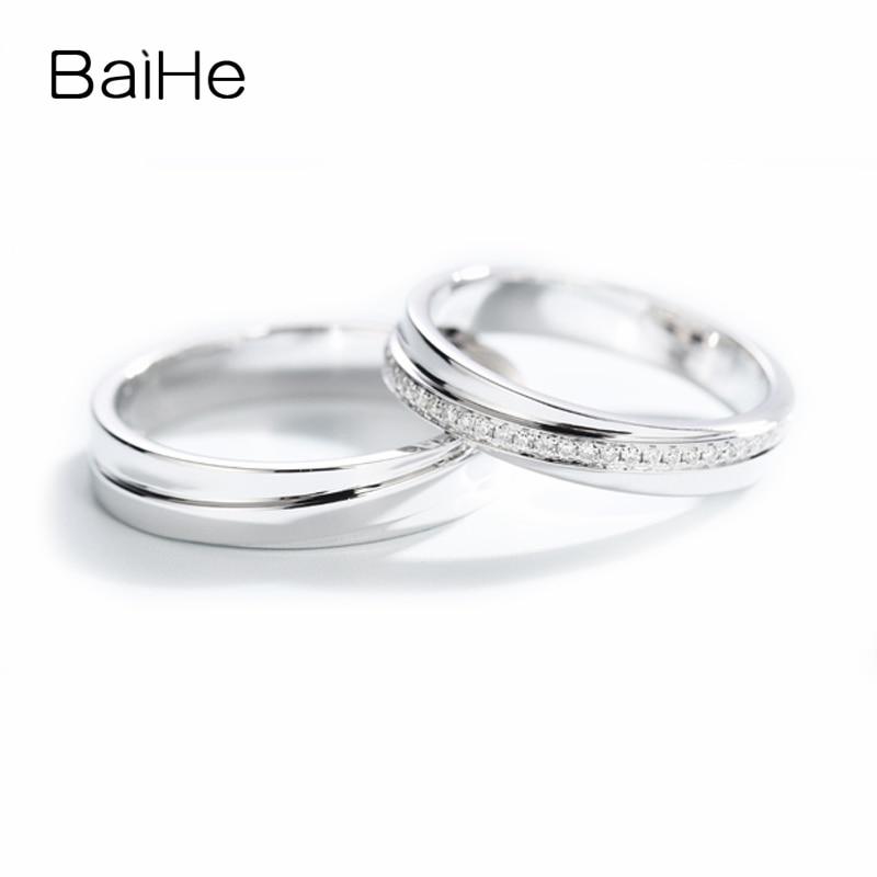 BAIHE الصلبة 14K الذهب الأبيض H/SI خاتم الماس الطبيعي غرامة مجوهرات الخطوبة الزفاف الفرقة العصرية خاتم زوجين خاتم عاشق هدية عيد