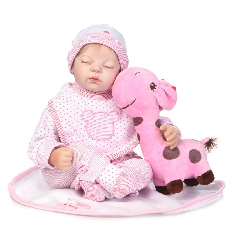 Nicery 20-22inch 50-55cm Bebe Reborn Doll Soft Silicone Boy Girl Toy Reborn Baby Doll Gift for Children Pink Giraffe Eyes Close