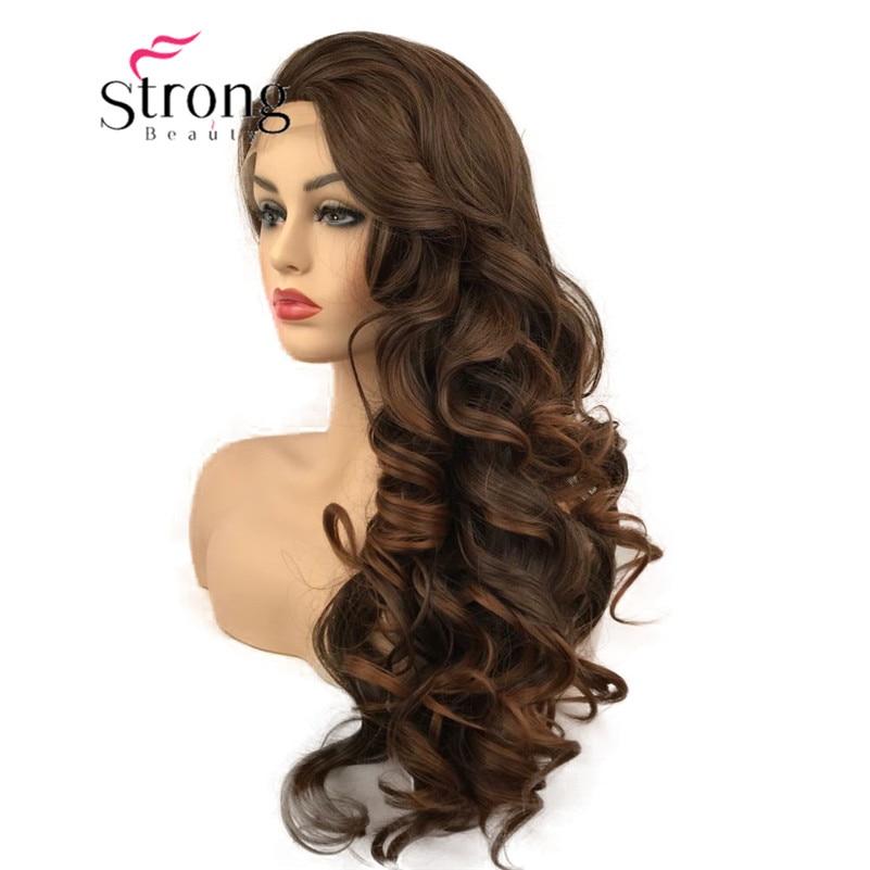 سترونجبيوتي-شعر مستعار أمامي من الدانتيل للنساء ، بني ، طويل ، مموج ، مقاوم للحرارة ، مع خيارات الألوان