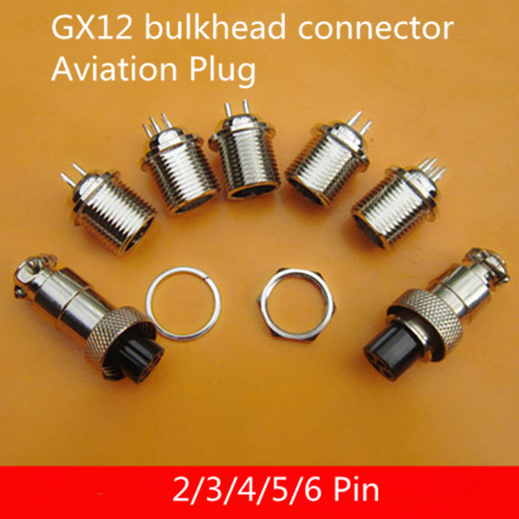5PCS AP009B  GX12 2/3/4/5/6 Pin M12 Male & Female bulkhead connector Aviation Plug GX12 Circular Socket Connector  12MM