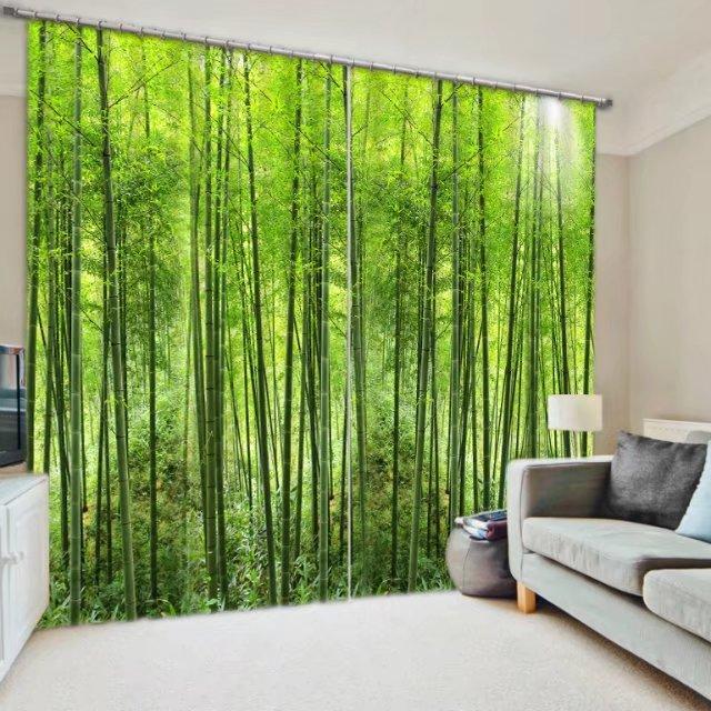 Cortinas de ventana con Blackout en 3D color verde para tapicería de pared ropa de cama decorativa para sala de estar, Cortinas de estudio, Cortinas