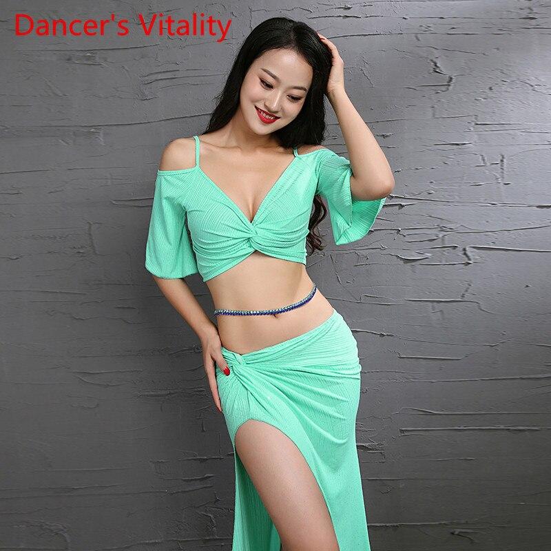 Nuevo traje de danza del vientre Flash en polvo tejido, ropa de práctica fresca, ropa de danza para mujeres, Ropa de baile verde, amarillo y rosa
