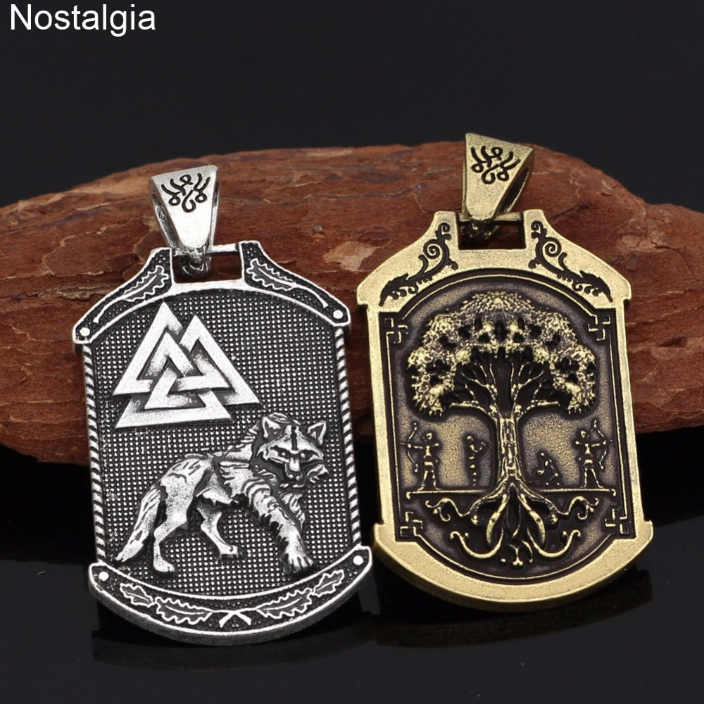 Nostálgica Valknut Odin vikingo nórdico escandinavo Lobo amuleto colgantes del árbol del mundo collares vikingos Noruega hombres mujeres joyería