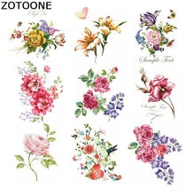 ZOTOONE-Patche De transfert De fleurs   Rayures pour vêtements, en fer sur le transfert De fleurs, Applique vêtements lavable, autocollants Thermo E