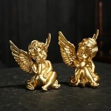 Figurines miniatures de décoration de maison   1 paire, bougeoir ange créatif en résine, ornement de jardinage, décoration de décoration, Statue Sculpture jolie