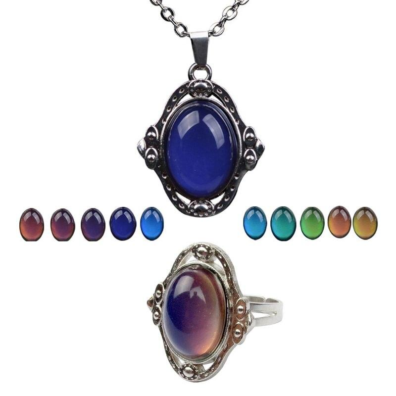 1 Set Ring Vintage Stone Temperature Sensing Mood Emotion Change Color Unique Personality Gifts Retro Antique Pendant