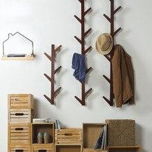 Actionclub 1 PC Bambus Holz Hängen Mantel Rack Wand Kleiderbügel Wohnzimmer Schlafzimmer Dekoration Aufhänger Wand Regale 6 Haken