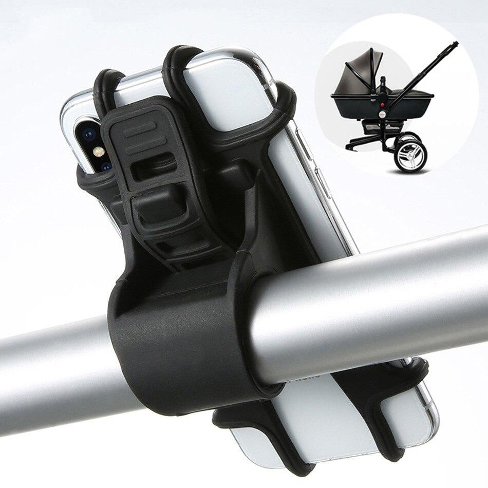 Poussette vélo support pour téléphone Silicone bouton de traction réglable Anti-choc support de téléphone fourche bébé poussette accessoires