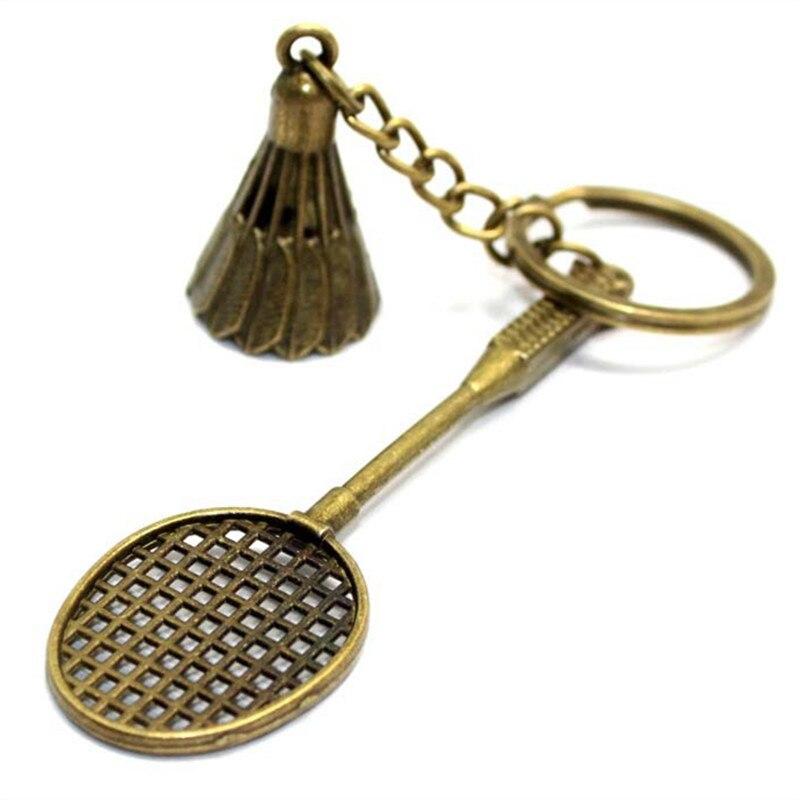 1 piece Antigo Bronze de Prata do Metal Raquete de Badminton Chaveiro Moda Bonito Mini Chaveiro Para O Homem Mulher Esportes Anel chave Do Carro presentes